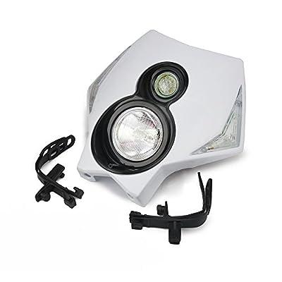 JFG RACING S2 12V 35W Universal Motorcycle Headlight Dual Lights Head Lamp Led Lights For Dirt Pit Bike ATV - White: Automotive