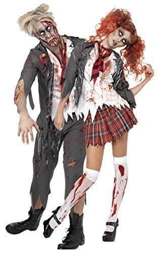Fancy Me Men's Couple Zombie School School Uniform Halloween Fancy Dres Costume UK 4-6 & Mens Small Grey ()