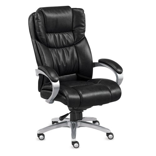 (Morgan Executive Faux Leather Chair Black Faux Leather/Chrome Painted Finish)