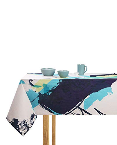 ModeHome Square Tablecloth 55 x 55 Inch Abstract Irregular Figures, Washable Tablecloth Heavy Weight Cotton Linen Fabric Dust-Proof Table Cover Kitchen Dinning Tabletop Decoration ()