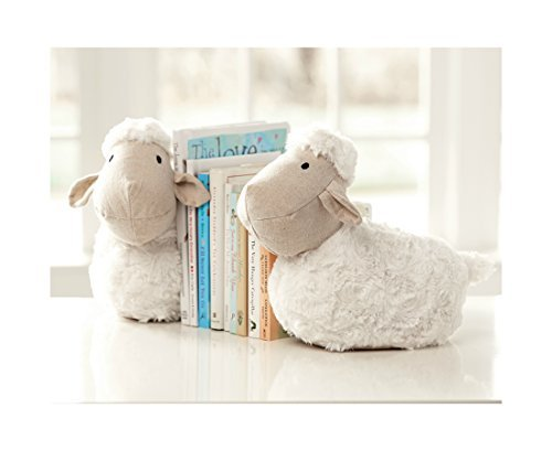 mud-pie-plush-lamb-weighted-bookends-white