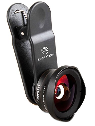 KobraTech 4K iPhone Camera Lens Kit - HD Wide Angle Phone Lens & Macro Cell Phone Lens for iPhone & Android - Includes Remote Shutter