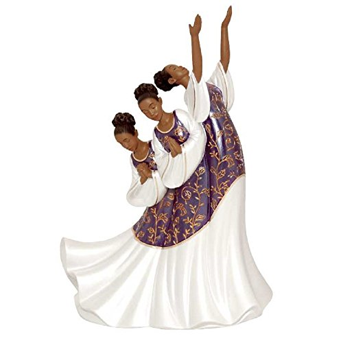 African American Praise Dancer Giving Praise in Purple