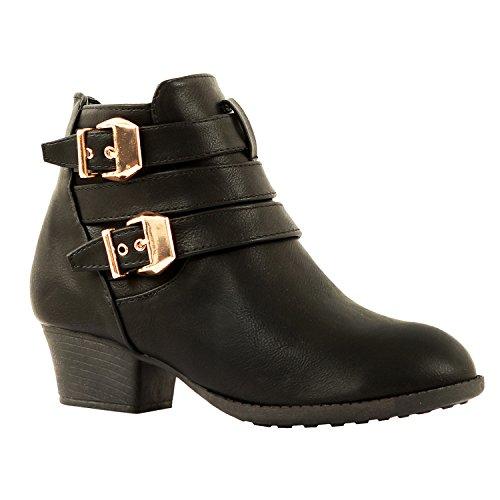Guilty Schuhe Damen Blockabsatz Geschlossene Zehe - Riemchen Stiefeletten Blackv5 Pu