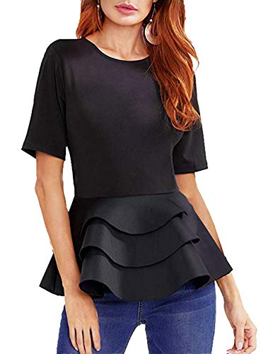 c5cb6a5a1e9 Mavis Laven Women s Layered Ruffle Long Sleeve Round Neck Peplum Tops Shirt