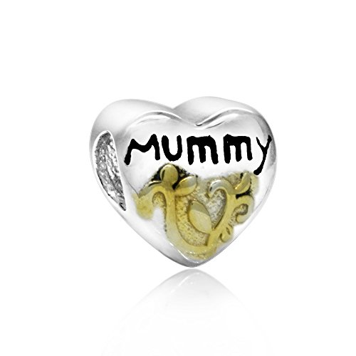 The Kiss Mummy Heart Two Tone Love Mother Bead 925 Sterling Silver Charm Bead Fits European Style Bracelets
