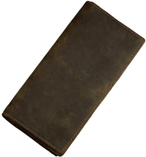 Itslife Men RFID Blocking Vintage Look Genuine Leather Long Bifold Wallet
