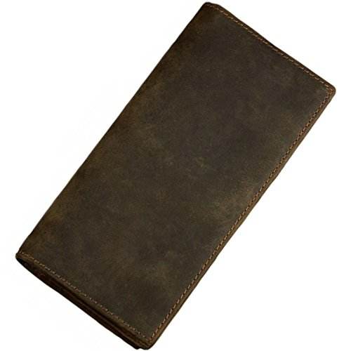 Itslife Men's RFID Vintage Look Genuine Leather Long Bifold Wallet Checkbook Wallets