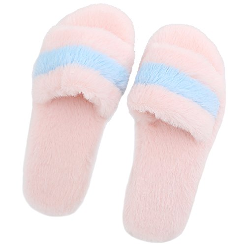 JACKSHIBO Damen Flauschige Plüsch Hausschuhe Kunstpelz Zuhause Pantoffeln Bequem Wärme Weiche Slippers Pink