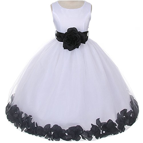 (Baby Girls White Bridal Satin Bodice Double Layer Tulle Skirt Black Organza Sash Flower Petals - Size S)