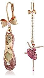 """Betsey Johnson """"Ballerina Rose"""" Pave Ballerina and Slipper Mismatch Earrings"""