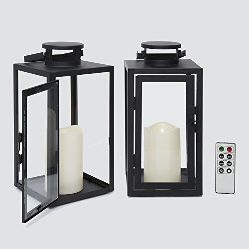 "Outdoor Flameless Black Candle Lanterns, Glass Paneled, 11"" Height, Warm White LEDs, Remote & Batteries Included - Set of 2"