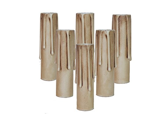- Lighthouse Industries Set of 6 pc.4 Inch Tall Antique Long Drip Hybrid Resin No Melt Oversized Candelabra Base 7/8