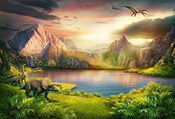 Baoccco 7x5ft Dinosaurs Theme Backdrop Boy Party Backdrop Jurassic Mesozoic Cremaceous Epoch Forest Mountains Lake Prehistorious Trees Grassland Archeologicy  ldren Photography Background