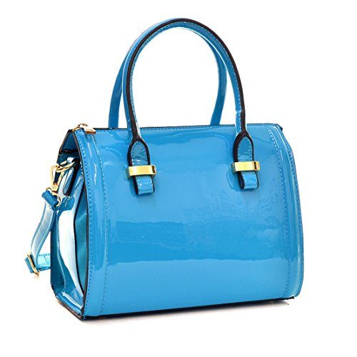 Dasein Shiny Patent Faux Leather Mini Barrel Body Satchel Handbag Shoulder Bag, Small, Blue-new (Blue Patent Leather Bag)