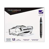 Prismacolor 3622 Premier Marcadores artísticos de doble extremo, punta fina y de cincel, gris frío, 12 unidades