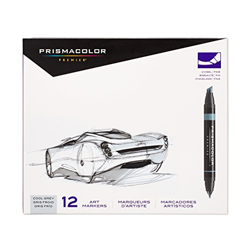 Marker Prismacolor Double End - Prismacolor 3622 Premier Double-Ended Art Markers, Fine and Chisel Tip, Cool Grey, 12-Count