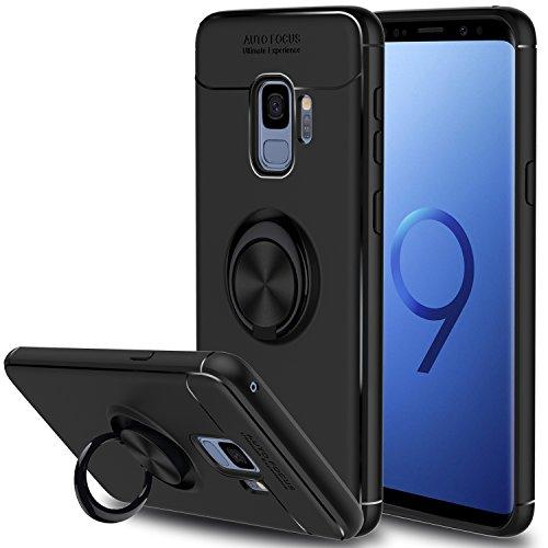 Galaxy S9 Case, Elegant Choise Hybrid Slim Ring Holder Shockproof Kickstand Soft Protective Case Fit Magnetic Car Mount for Samsung Galaxy S9(Black)