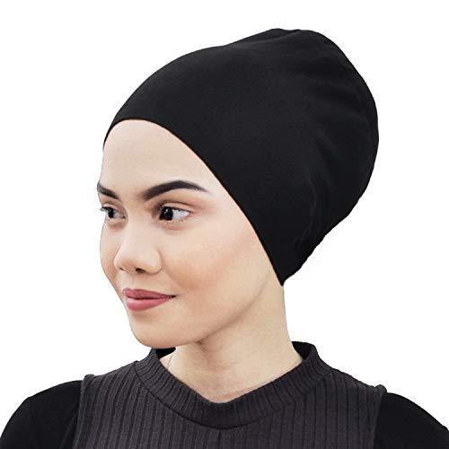Silk Story Design Handmade Hijab Turban Bun Under Scarf Shawl Chemo Wear Volumizer Hair Loss Cover Cotton (Black)