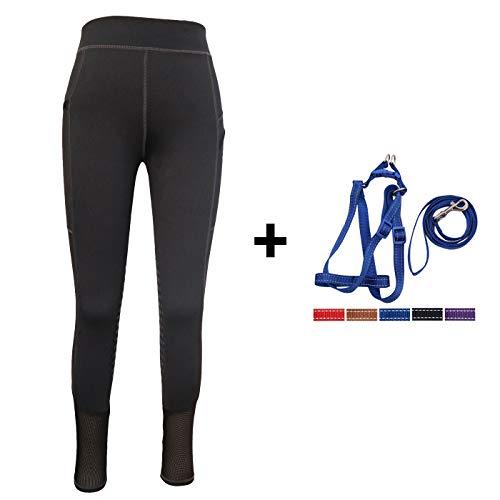 (HR Farm Lady Light Weight Silicone Grip Leggings Horse Riding Tights 1 Dog Leash Set (Black, M))