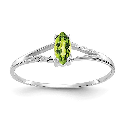 - 14K White Gold Peridot Birthstone Ring
