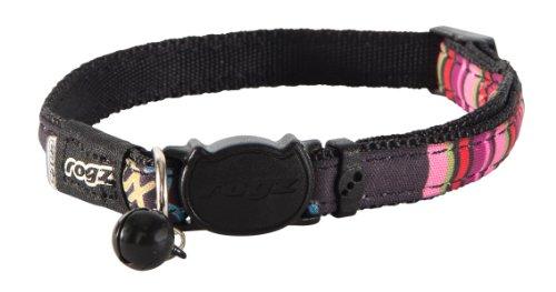"Rogz Catz NeoCat Small 1/8"" Breakaway Cat Collar, Black Candy Stripes Design"