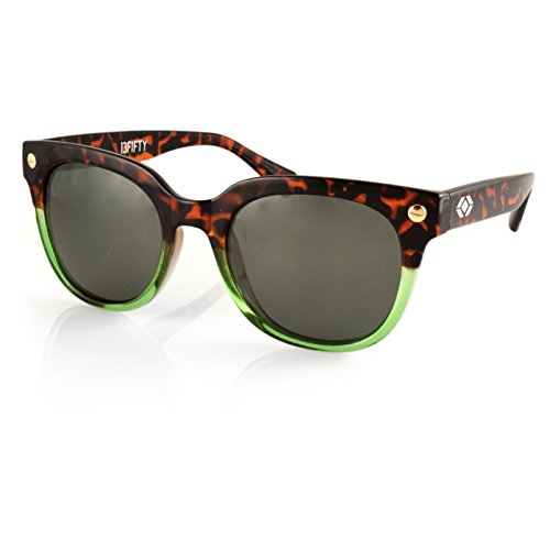 13Fifty Boston Round Polarized Wayfarer Sunglasses- Tortoise Green Frame- G15 Green Lens Mens Womens Retro - Styling Glasses
