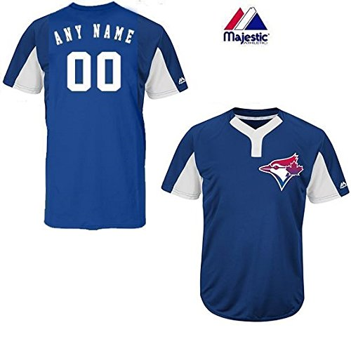 Majestic CUSTOM Adult Large Toronto Blue Jays 2-Button Placket Cool-Base MLB Licensed Jersey -