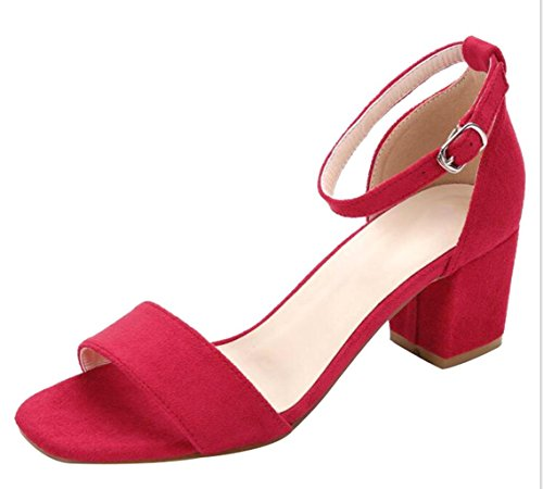 Square Toe Buckle - CAMSSOO Women's Classic Square Peep Toe Strappy Ankle Buckle Shoes Chunk Low Heeled Pumps Sandals Red Velveteen Size US10 EU42
