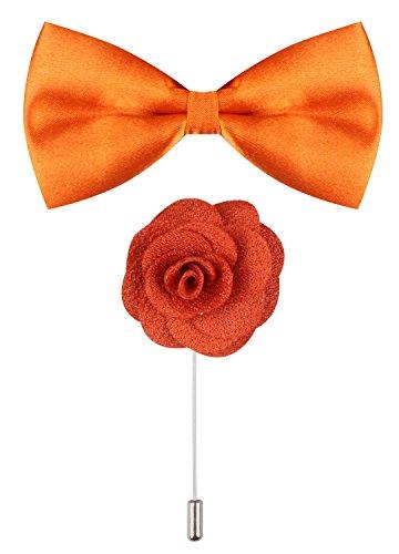 CEAJOO Orange Bow Tie Flower Lapel Pins for Men Lapel Flower Pin (Male Gatsby Attire)