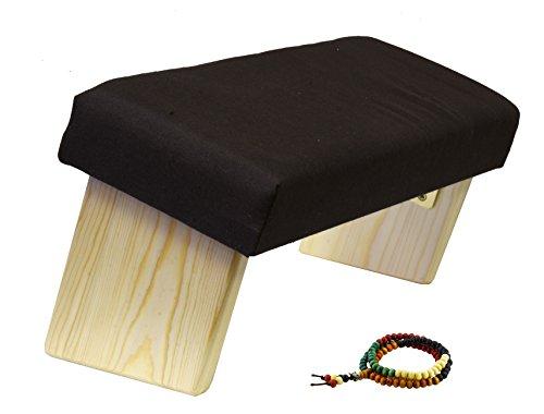 - Mudra Crafts Portable Wood Yoga Seiza Kneeling Meditation Bench Folding Stool Padded Cushion Angled Seat (Brown)