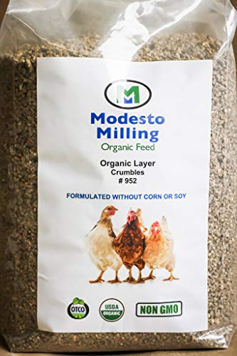 (Modesto Milling Organic, Non-GMO Layer Crumbles for Chickens, Formulated Without Corn or Soy, 10lbs; Item# 952 )