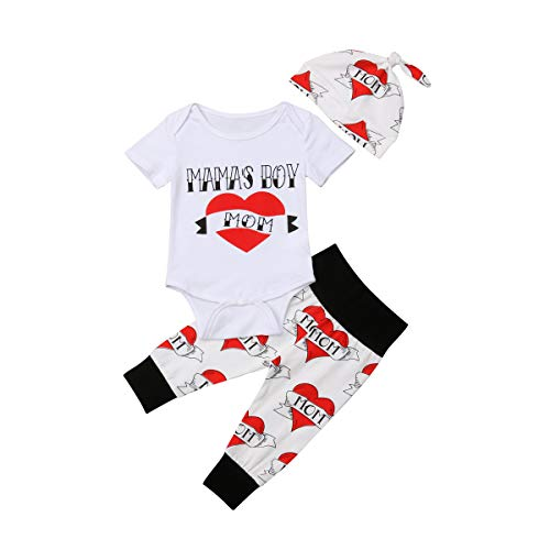 Newborn Infant Toddler Baby Boys 3Pcs Outfit Mama's Boy Letter Printed Romper Bodysuit Heart Pants Legging Hat Set (9-12M, Red)
