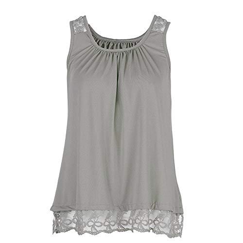 - Lovor Women's Plus Size Summer Solid Round Neck Sleeveles Camisole Shirt Lace Vest Versatile Loose Tank Tops Blouse(Gray,XXXL)