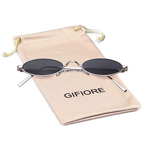 Oval Sunglasses Vintage Retro Sunglasses Designer Glasses for Women Men (Grey/Silver, ()