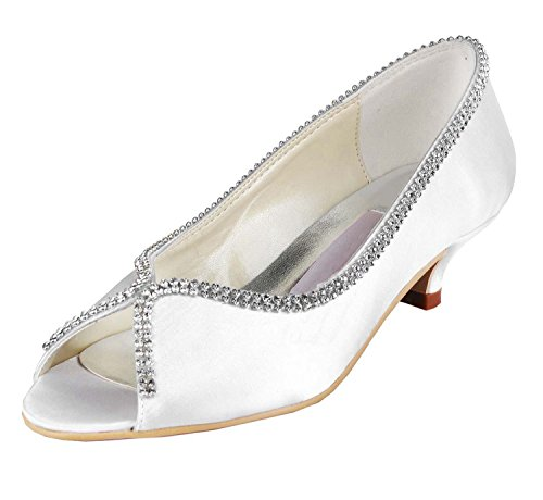 Minishion Womens MZ536 Kitten Heel White Satin Wedding Ev...