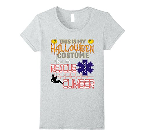 Hard Lady Costume Working (Womens Rescue Climber Halloween Costume Shirt Small Heather)