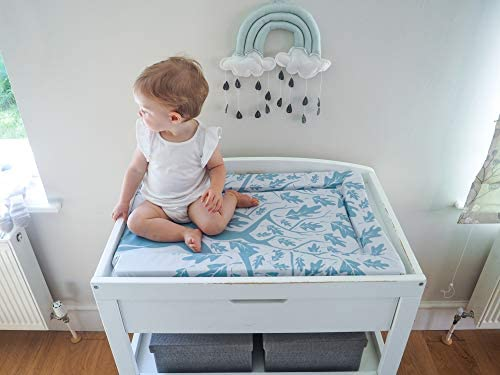 Wipeable 72cm x 46cm High Density Foam Extra Padded Raised Edges The Gilded Bird Baby Changing Mat Change Mat Lovely Leaves Grey