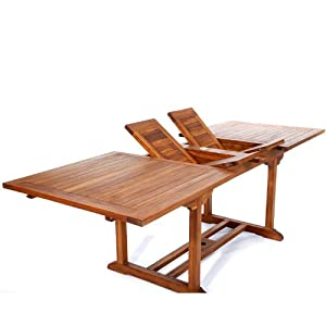 All Things Cedar TE90 Teak Patio Extension Table with Foldable Butterfly Leafs, 8'