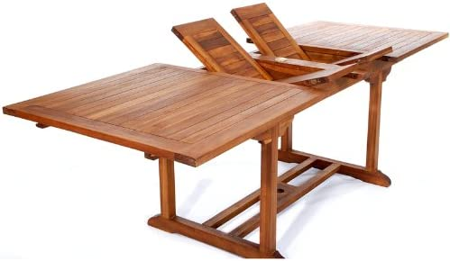 8ft TEAK Patio Extension Table   With Foldable Butterfly Leafs