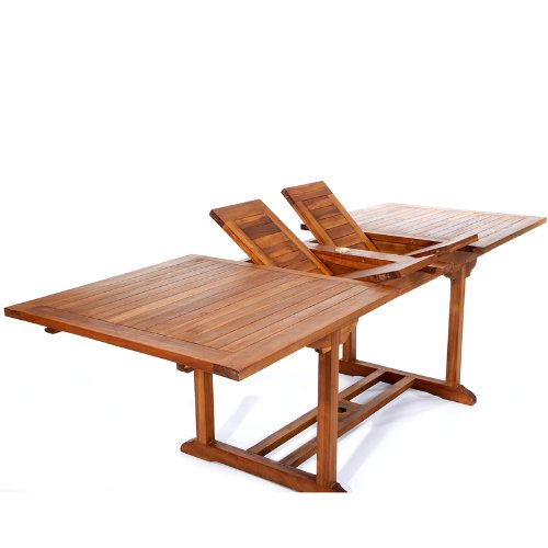 Butterfly Patio Umbrella - All Things Cedar TE90 Teak Patio Extension Table with Foldable Butterfly Leafs, 8'