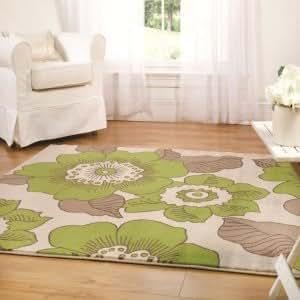 Moderno dise o floral verde beige alfombra 120 cm x 170 cm - Alfombras comedor amazon ...