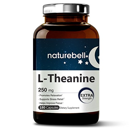 Maximum Strength L-Theanine 250 mg, 180 Capsules, Powerfully Promotes Restful Sleep, Stress Relief and Relaxation, Non-GMO and Made in USA