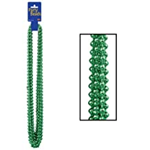 Beistle 50570-G 12-Pack 7mm by 33-Inch Round Party Beads, Small, Green