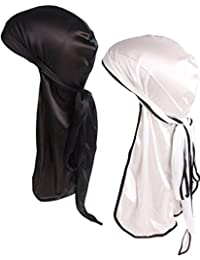 YI HENG MEI Men 2PCS/3PCS Silky Stretchable Durag Do Rag Bikers Hip Hop Pirate Hat