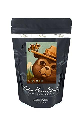 Stay Wild - Smokey Bear and Squirrel (8oz Whole Bean Small Batch Artisan Coffee - Bold & Strong Medium Dark Roast w/ (Wild Squirrel)