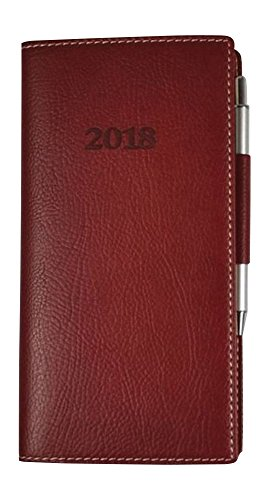 2018 Weekly Classic Pocket Bonded Leather With Pen Engagement Calendar planner (Red Rose)