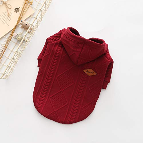 Red MHUAIX petsuppliesmisc Dog clothes autumn and winter new pet clothing sweater hooded Gemini stained jacquard sweater (color   Pink, Size   M)