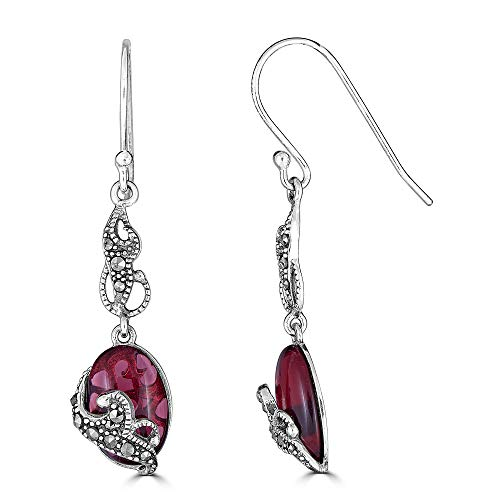 Sterling Silver Genuine Marcasite & Red Glass Oval Dangle Earrings