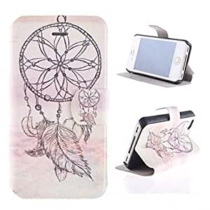 GHK - Windbell Pattern PU Full Body Case with Card Slot and Stand for iPhone 4/4S
